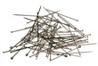 Pile of sewing pins on white backgound