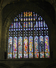 A Stained Glass Cathedral Window Showing Saints