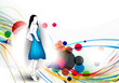 Vector fashion girls in abstract background.