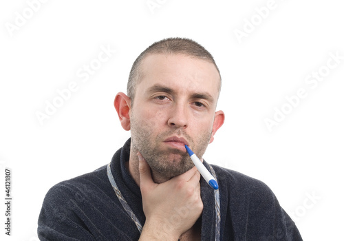 Sick man with thermometer 4