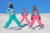 Fototapety Children on the ski on the mountain