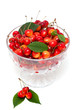 cherries in a beautiful glass dish