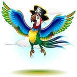 Happy Jumping Pirate Macaw Cartoon-Pappagallo Pirata-Vector