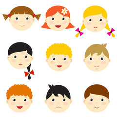 vector kid faces