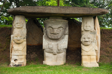 Ancient pre-columbian statues in San Agustin, Colombia.
