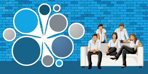 business people in front of blue brick wall