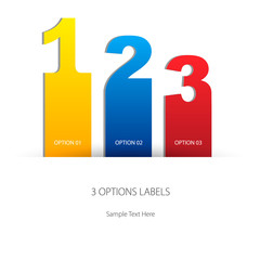 Three options labels, one two three, yellow, blue and red