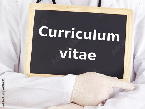 Doctor shows information: curriculum vitae