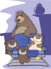Big bear family . Cartoon