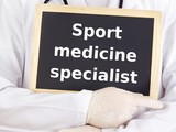 Doctor shows information: sport medicine specialist poster