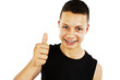Portrait of a teenage boy with thumbs up on a white background