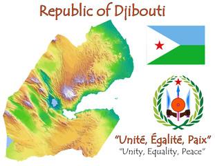 Djibouti national emblem map symbol motto