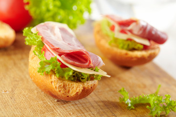 fresh open sandwich with bacon