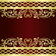 Luxury claret Background decorated a gold Vintage ornament: