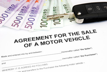 contract for sale of a motor vehicle with money