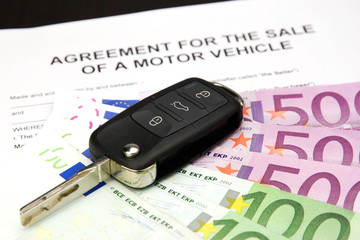 contract for sale of a motor vehicle with car key and money