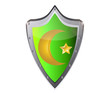 muslim star and crescent on metal button vector