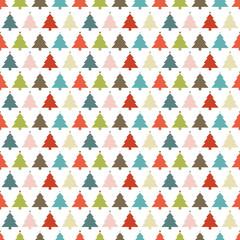Seamless Pattern Christmas Trees Stars Retro White