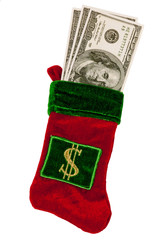 Christmas Stocking Filled With Money