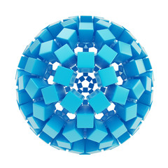Abstract sphere made of blue glossy cubes