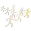 Group of symbolic human figures running for the leader
