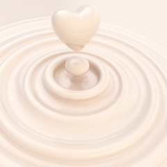 Heart symbol made of liquid milk cream