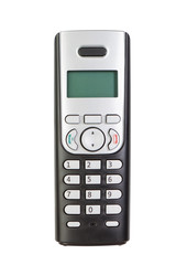 Modern wireless phone, close-up. On a white background.