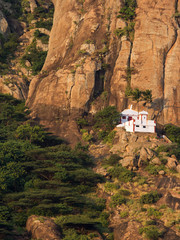 Small Hindu temple in the steep mountains near Kanyakumari
