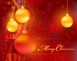 Red golden Christmas bokeh background with baubles