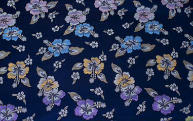 Blue chinese fabric with floral pattern