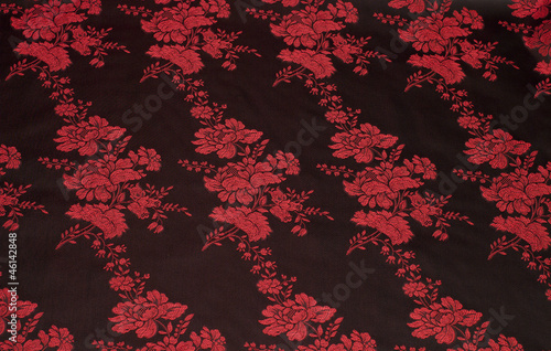 Black silk with floral pattern