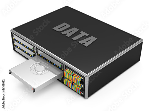 Server with Hard Drive Disk isolated on white background