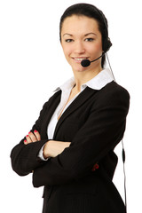 Portrait of happy smiling cheerful support phone