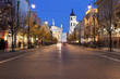 Gediminas Avenue in Vilnius at night