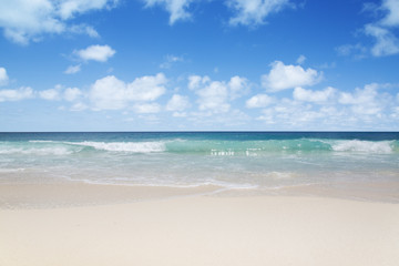 The island of dreams. White coral sand and azure indian ocean.