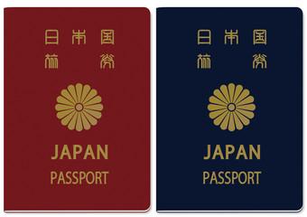 日本のパスポート(赤・青)