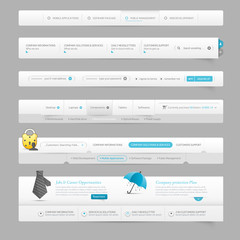 web design template navigation elements with icons