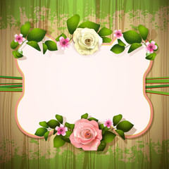 Mirror with roses over wood texture