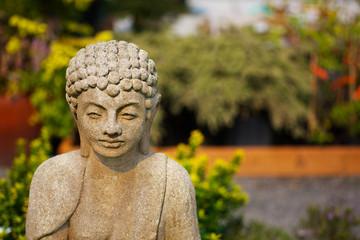 Shallow focus Buddha garden