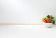 The empty space in the kitchen with vegetables bowl