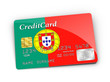 Credit Card covered with Portugal flag.