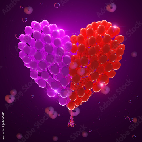 Big bunch of party balloons.Heart shape. Romantic atmosphere.