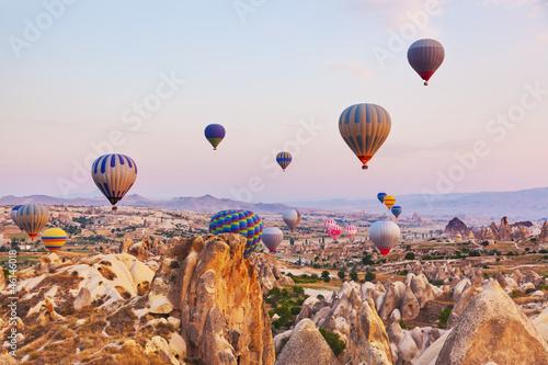 Hot air balloon flying over Cappadocia Turkey - 46146018