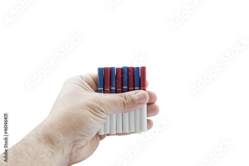 colorfull tipped cigarettes in hand