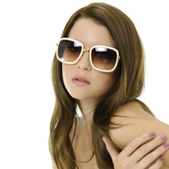 Young woman wearing the big modern sunglasses.