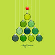 Christmas Tree Hanging Balls Pattern Green/Light Green/Silver