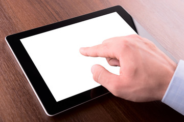 hand on a touch screen of tablet pc, with clipping path