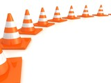 row of orange road traffic cones on white background
