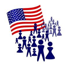 Folla con bandiera americana