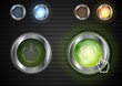 Power buttons with the same illumination. Vector background